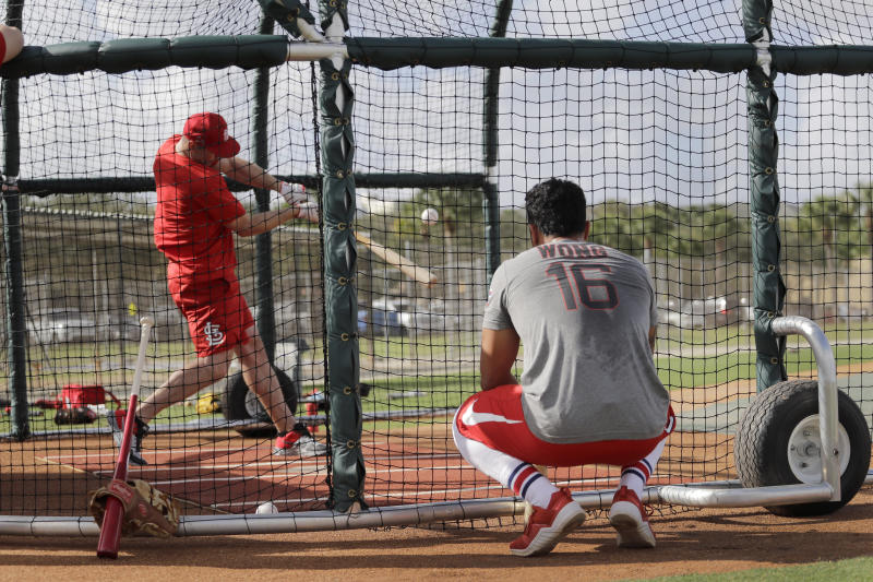 St. Louis Cardinals' Kolten Wong, right, watches as teammate Paul Goldschmidt takes batting practice during spring training baseball Wednesday, Feb. 12, 2020, in Jupiter, Fla. (AP Photo/Jeff Roberson)
