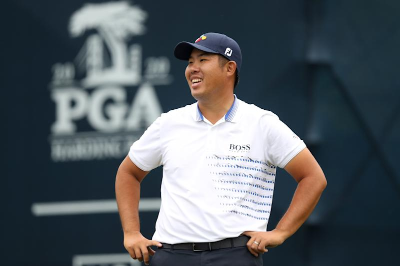 Byeong Hun An of South Korea smiles after making a hole-in-one on No. 11th during the final round of the 2020 PGA Championship at TPC Harding Park in San Francisco. (Jamie Squire/Getty Images)