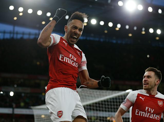 Pierre-Emerick Aubameyang and Arsenal should be jumping for joy over their remaining fixtures. (Getty)