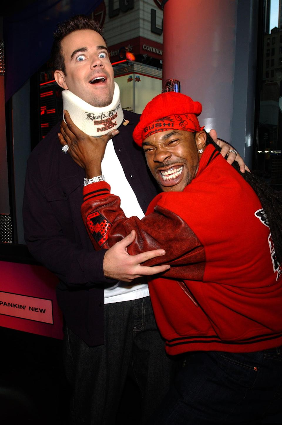 <p>Busta Rhymes goofed off with Carson Daly when he visited <b>TRL</b> in 2001.</p>