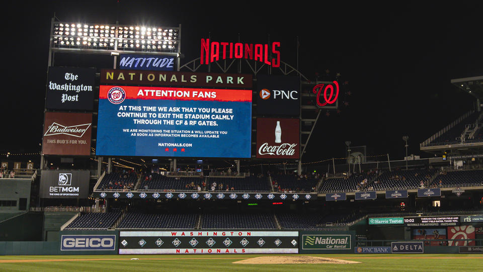 An alert for fans, pictured here on the scoreboard after the shooting outside Nationals Park.