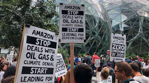PHOTO: Amazon workers begin to gather in front of the Spheres, participating in the climate strike in Seattle, Sept. 20, 2019. (Elaine Thompson/AP, FILE)