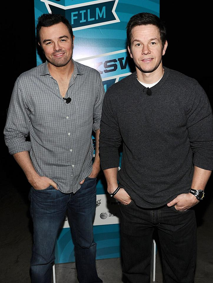 "Mark Wahlberg (right) was apparently very interested in what ""Family Guy"" creator Seth MacFarlane had to say since he decided to sit in on the ""A Conversation with Seth MacFarlane"" panel at the Austin Convention Center on Sunday. (3/11/2012)"