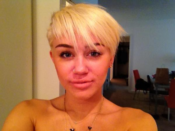 Miley Cyrus has gone through many hair changes but none so drastic as her latest cut. The singer/actress showed off a peroxide blond pixie cut, with even part of her hair completely shaved off, on her Twitter feed. It's a fun, fresh look and only she can pull it off. (Miley Cyrus Twitter)