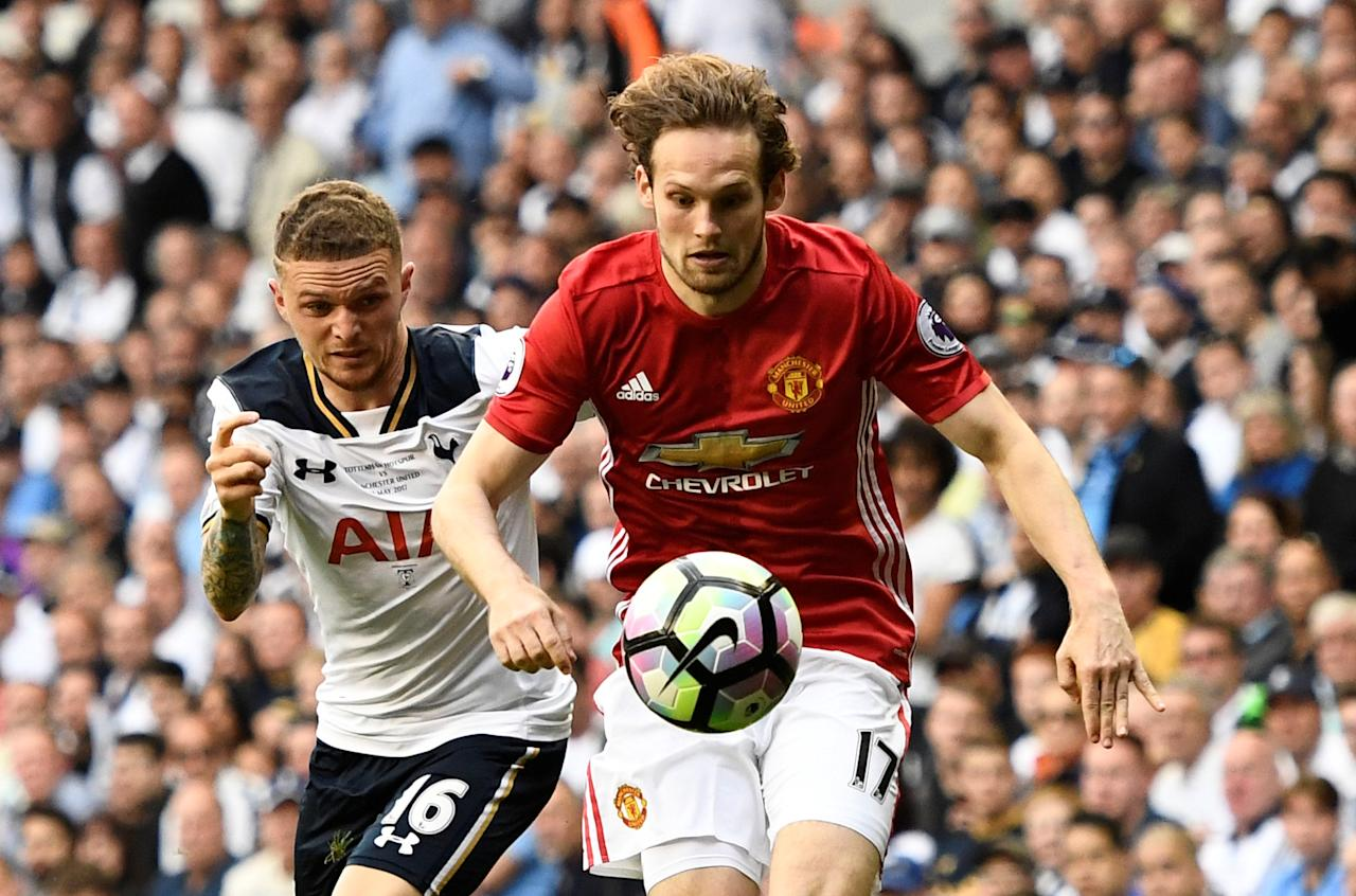 "FILE PHOTO: Britain Soccer Football - Tottenham Hotspur v Manchester United - Premier League - White Hart Lane - 14/5/17 Manchester United's Daley Blind in action with Tottenham's Kieran Trippier in London, Britain, Reuters / Dylan Martinez / File Photo /  Livepic.  EDITORIAL USE ONLY. No use with unauthorized audio, video, data, fixture lists, club/league logos or ""live"" services. Online in-match use limited to 45 images, no video emulation. No use in betting, games or single club/league/player publications.  Please contact your account representative for further details."