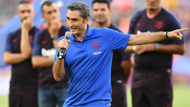 Will there be any Barcelona exits? Ernesto Valverde discussed the club's transfer business after Sunday's win over Arsenal.
