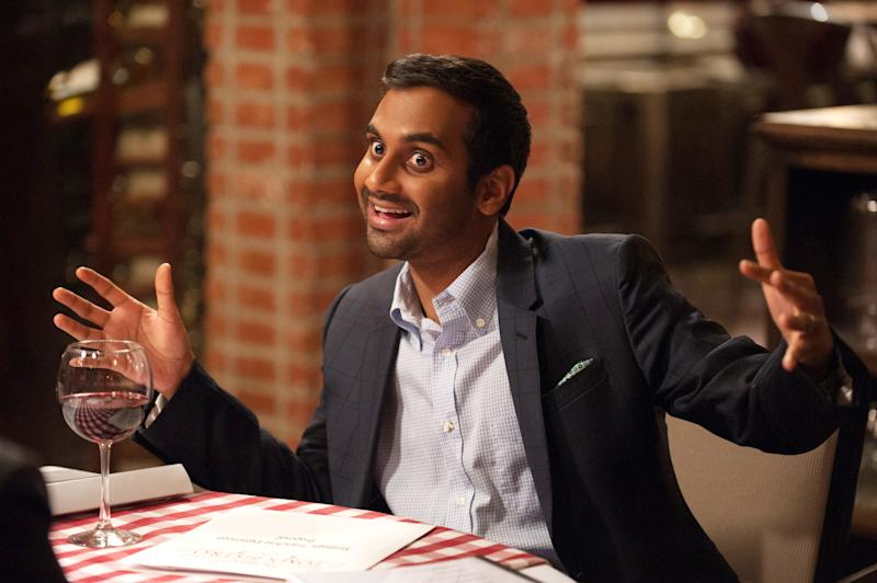 "PARKS AND RECREATION -- ""One Last Ride"" Episode 712/713 -- Pictured: Aziz Ansari as Tom Haverford -- (Photo by: Colleen Hayes/NBCU Photo Bank/NBCUniversal via Getty Images via Getty Images)"