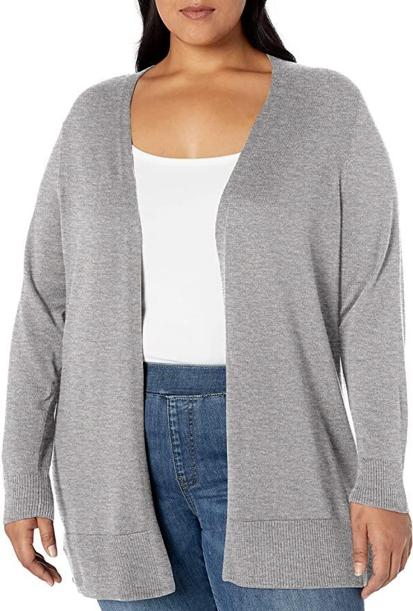"""The Amazon Essentials Store is rife with affordable basics, like this lightweight gray cardigan. It comes in four other colors and can be easily layered under <a href=""""https://www.glamour.com/gallery/best-teddy-coats-to-buy-this-winter?mbid=synd_yahoo_rss"""" rel=""""nofollow noopener"""" target=""""_blank"""" data-ylk=""""slk:a teddy coat"""" class=""""link rapid-noclick-resp"""">a teddy coat</a> or a <a href=""""https://www.glamour.com/gallery/35-chic-fall-jackets-and-light-winter-coats-shop?mbid=synd_yahoo_rss"""" rel=""""nofollow noopener"""" target=""""_blank"""" data-ylk=""""slk:leather jacket"""" class=""""link rapid-noclick-resp"""">leather jacket</a>. $24, Amazon. <a href=""""https://www.amazon.com/Amazon-Essentials-Lightweight-Open-Front-Cardigan/dp/B07QB4PRMS?ref_=ast_sto_dp"""" rel=""""nofollow noopener"""" target=""""_blank"""" data-ylk=""""slk:Get it now!"""" class=""""link rapid-noclick-resp"""">Get it now!</a>"""