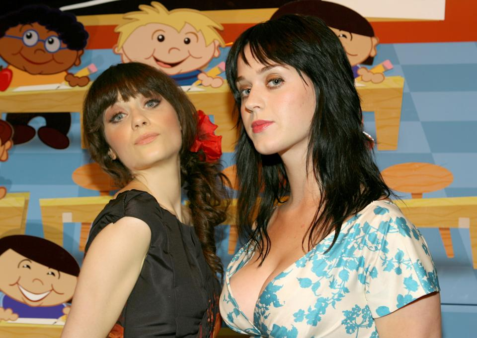 Zooey Deschanel and Katy Perry (Photo by Jesse Grant/WireImage for Bluprint)