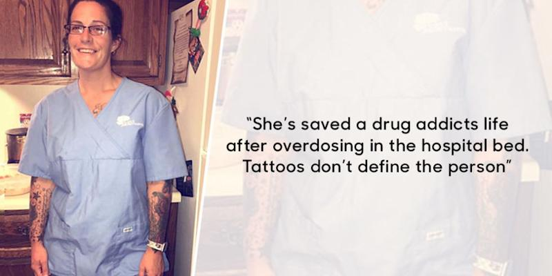 Son Stands Up for His Mom, a Nurse With Tattoos, to Challenge