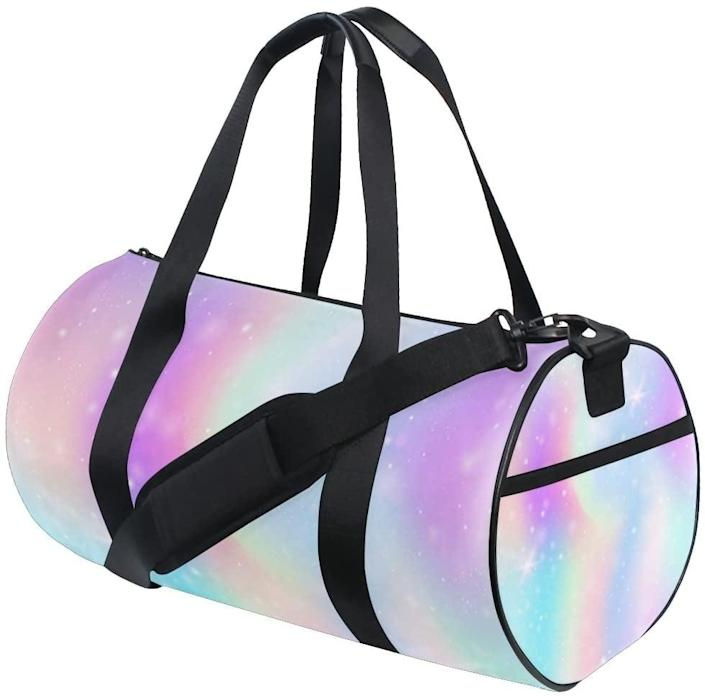 <p>The <span>ALAZA Pink Glitter Hearts Duffle Bag </span> ($28) is lightweight and colorful. This is great for streamlining your gym routine and necessities.</p>