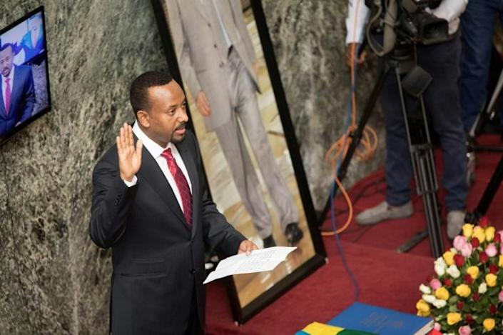 Ethiopian Prime Minister Abiy Ahmed has been awarded the Nobel Peace Prize but some accuse him of resorting to authoritarian rule (AFP Photo/ZACHARIAS ABUBEKER)