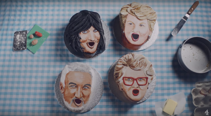 The show's judges and presenters appeared in the form of cup cakes (YouTube/Channel 4)