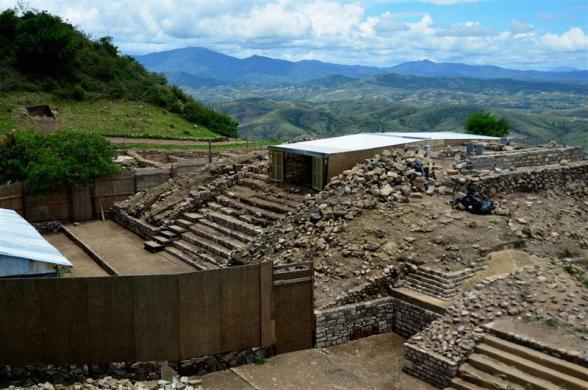 A view of the building (top) where archeologists found a burial chamber at the archeological site of Atzompa, in the Mexican state of Oaxaca, is seen in this undated handout photo released by the National Institute of Anthropology and History (INAH) July 18, 2012.