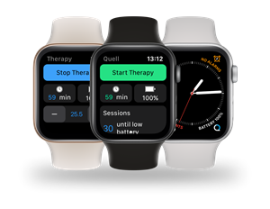 The Quell Watch app gives a Quell user the ability to control and monitor their pain relief from their Apple Watch®