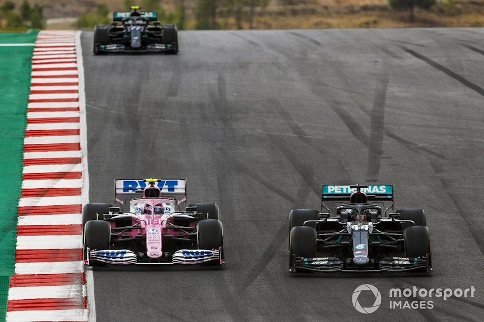 "Lewis Hamilton, Mercedes F1 W11, Lance Stroll, Racing Point RP20, and Valtteri Bottas, Mercedes F1 W11<span class=""copyright"">Zak Mauger / Motorsport Images</span>"