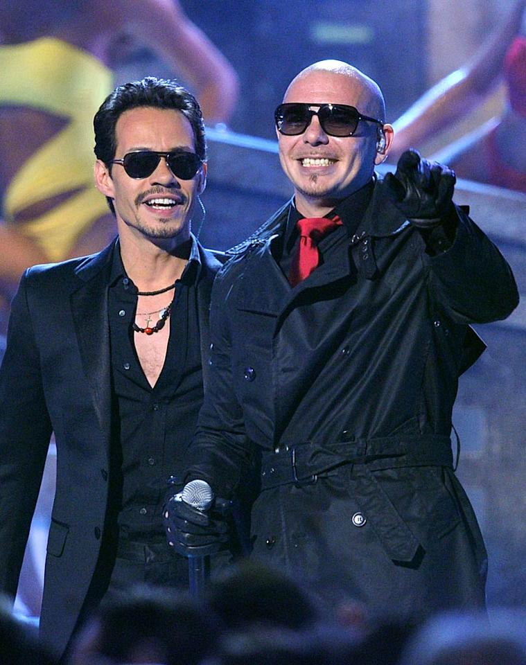 """Marc Anthony and Pitbull got the party started when they took the stage to perform their hit, """"Rain Over Me."""" (11/10/2011)"""