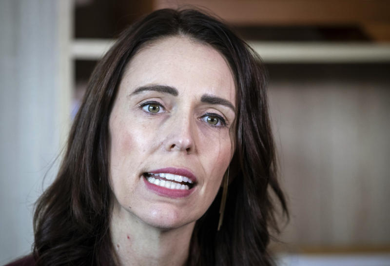 New Zealand Prime Minister Jacinda Ardern speaks to media at her electorate office in Aukland, New Zealand Wednesday, April 24, 2019. Ardern said that she and French President Emmanuel Macron will host a meeting in Paris next month seeking to eliminate acts of violent extremism and terrorism from being shown online. (Jason Oxenham/New Zealand Herald via AP)