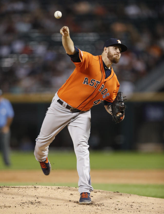 Houston Astros starting pitcher Chris Devenski delivers against the Chicago White Sox during the first inning of the second baseball game of a doubleheader Tuesday, Aug. 13, 2019, in Chicago. (AP Photo/Kamil Krzaczynski)