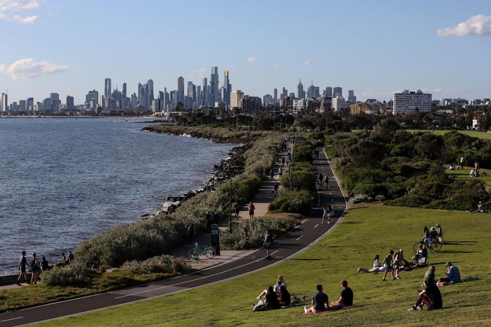 A general view of the city of Melbourne from Elwood Beach in Melbourne, Australia.