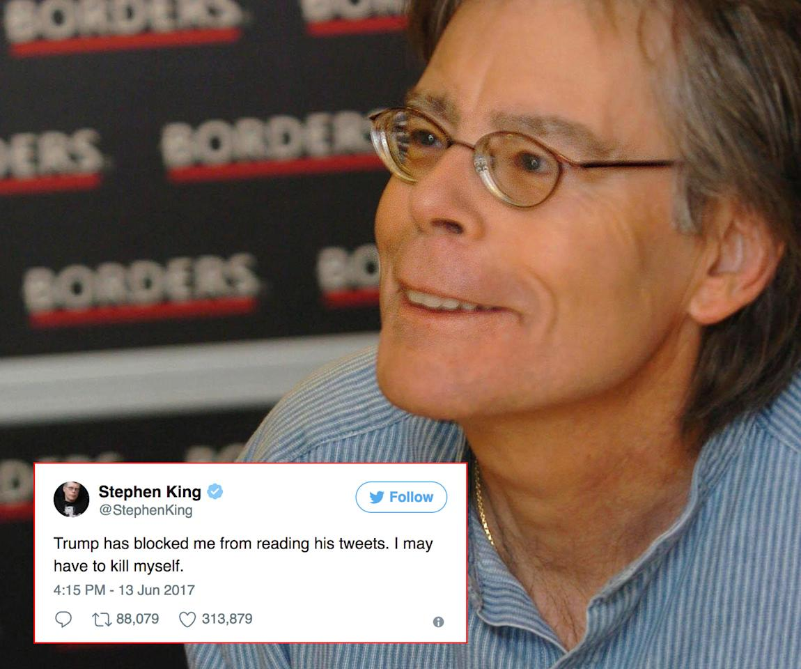 <p>One of America's most celebrated authors Stephen King was shocked last month to get the 'you are no longer authorised to read these tweets' message. Fellow literary giant JK Rowling came to the rescue and said she'll forward the tweets to King. One of his acid-tongued tweets was, Donald is 'a remarkable combination of unhinged and dumb as dirt.' (Photo: PA/Twitter) </p>