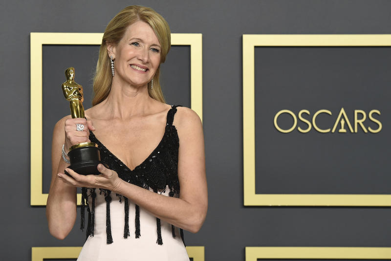 "Laura Dern, winner of the award for best performance by an actress in a supporting role for ""Marriage Story"", poses in the press room at the Oscars on Sunday, Feb. 9, 2020, at the Dolby Theatre in Los Angeles. (Photo by Jordan Strauss/Invision/AP)"