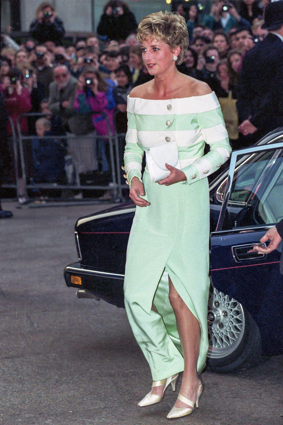 <p>In a mint green dress at the premiere of <em>Accidental Hero </em>in London. </p>