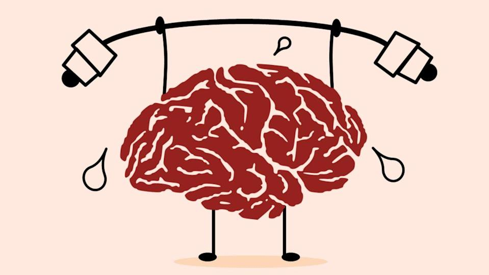 An illustration of a brain holding up a dumbbell