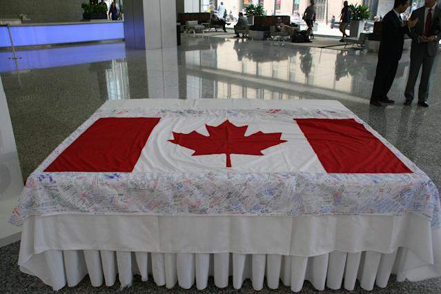 The Canadian flag displayed at Commerce Court in Toronto. (Photo Courtesy Alex Jones Photography)