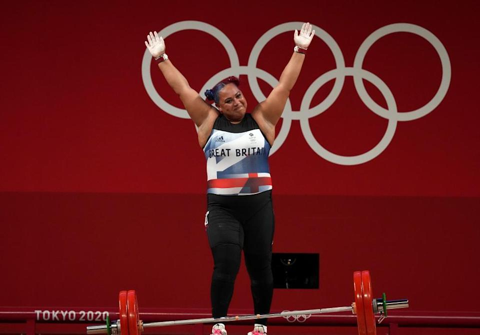 Emily Campbell in the women's +87kg weightlifting.