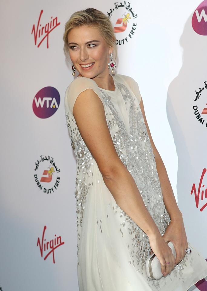 LONDON, ENGLAND - JUNE 21: Maria Sharapova arrives at the WTA Tour Pre-Wimbledon Party at The Roof Gardens, Kensington on June 21, 2012 in London, England. (Photo by Tom Dulat/Getty Images for WTA)
