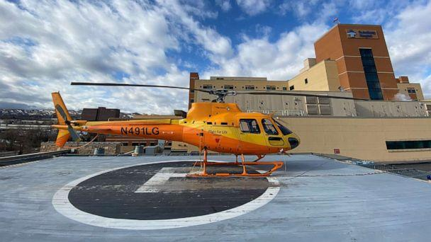 PHOTO: A Fight for Life emergency helicopter, seen here at St. Anthony Hospital in Colorado, reportedly had a close encounter with a drone on Jan. 8, 2020. (Clayton Sandell/ABC News)