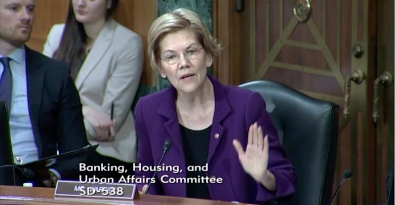 Sen. Elizabeth Warren speaks to CFPB Director Kathy Kraninger. (Screenshot: Yahoo Finance)