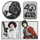 <p>This quartet of jumbo-size pins includes Luke Skywalker, Princess Leia, Darth Vader, and the 40th anniversary logo. Each has a brushes-steel finish and a Mickey-shaped pinback, and Disney has limited the set to 1,250 units. (Credit: Disney Store) </p>