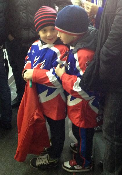 Two young fans waiting to meet Evgeni Malkin. (#NickInEurope)