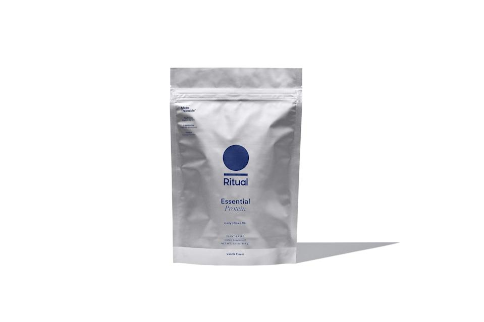 """<p>""""I love <span>Ritual's new vanilla flavored protein powder</span> ($40), which has 20 grams of protein and only three grams of carbs. It's plant-based and made without soy, gluten, or any artificial flavors, but still tastes delicious. Unlike so many other protein powders I've tried, it dissolves well without a blender, so you're not faced with annoying clumps of powder in your drink. The flavor isn't overpowering, so it's great with almost everything. I sometimes drink it mixed with just almond milk or blend it with ice and coffee. When blended with a banana, cinnamon, and dairy-free milk, it's more like a meal replacement, keeping me energized and full for hours."""" - Jennifer Fields, deputy editor, Fitness</p>"""