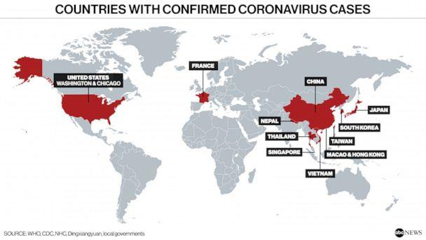 PHOTO: Countries with confirmed coronavirus cases (WHO, CDC, NHC, Dingxiangyuan, local governments)