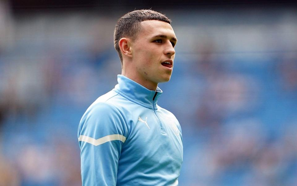 Manchester City's Phil Foden ahead of the Premier League match at The Etihad Stadium, Manchester. Picture date: Saturday September 18, 202 - PA