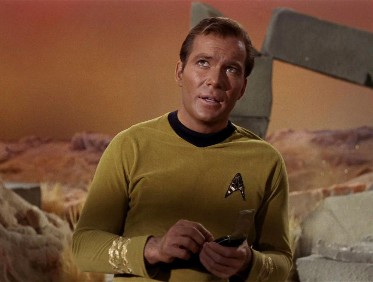 Canadian actor William Shatner glances upwards in a scene from an episode of the television series 'Star Trek' entitled 'The Man Trap,' 1966. The episode was the first broadcast episode of the influential series--it originally aired on September 8, 1966. (Photo by CBS Photo Archive/Getty Images)