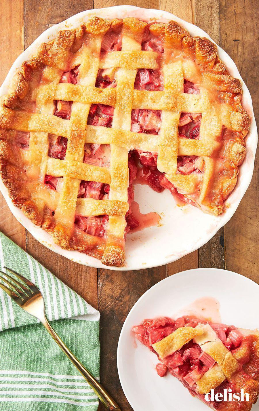 """<p>Celebrate spring with this delicious, tart and sweet pie.</p><p>Get the recipe from <a href=""""https://www.delish.com/cooking/recipe-ideas/recipes/a53154/best-strawberry-rhubarb-pie-recipe/"""" rel=""""nofollow noopener"""" target=""""_blank"""" data-ylk=""""slk:Delish"""" class=""""link rapid-noclick-resp"""">Delish</a>.</p>"""