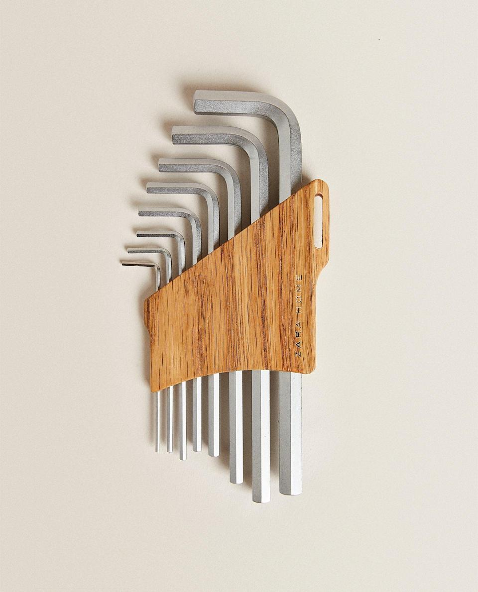 """If you've ever made an Ikea bookcase you'll know that allen keys are a) incredibly useful and b) incredibly easy to lose. So this cleverly encased set from the new range of Zara Home tools reduces the risk of misplacing your keys.<br><br><strong>Zara Home</strong> Set Of 8 Tool Steel Allen Keys With Wooden Stand, $, available at <a href=""""https://www.zarahome.com/gb/set-of-8-tool-steel-allen-keys-with-wooden-stand-l43207043?categoryId=1020385003&colorId=052&ct=true"""" rel=""""nofollow noopener"""" target=""""_blank"""" data-ylk=""""slk:Zara Home"""" class=""""link rapid-noclick-resp"""">Zara Home</a>"""