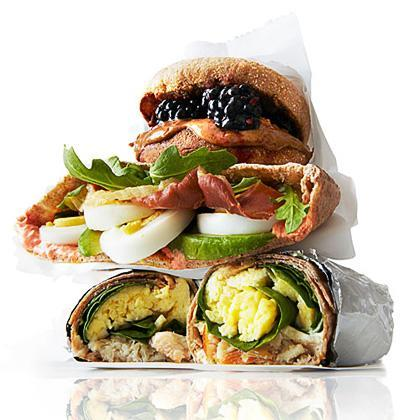 """<p>Think of these as a lower-calorie version of a bagel with <a href=""""https://www.myrecipes.com/how-to/cooking-questions/what-is-lox"""" rel=""""nofollow noopener"""" target=""""_blank"""" data-ylk=""""slk:lox"""" class=""""link rapid-noclick-resp"""">lox</a> and cream cheese. If you're eating them on the go, just wrap them in foil or waxed paper.</p>"""