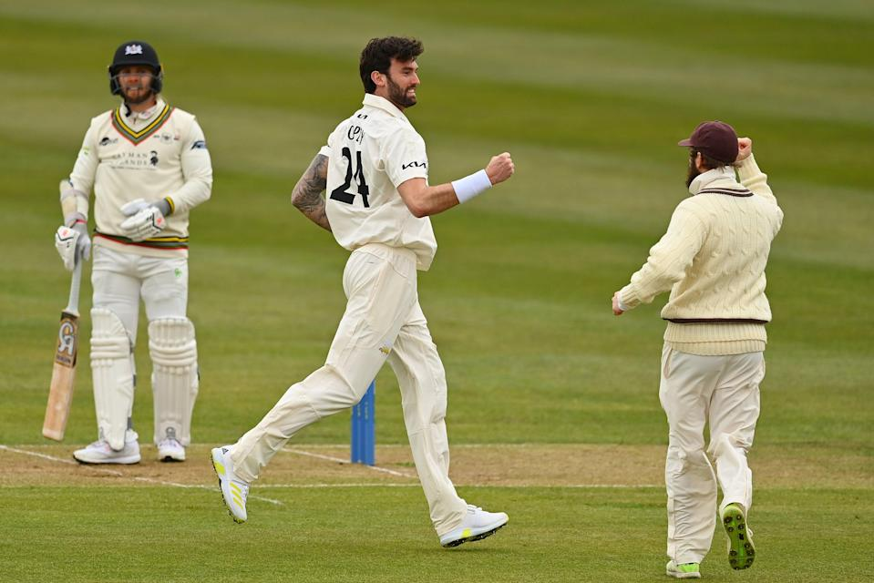 Reece Topley celebrates a wicket against Gloucestershire (Getty Images)