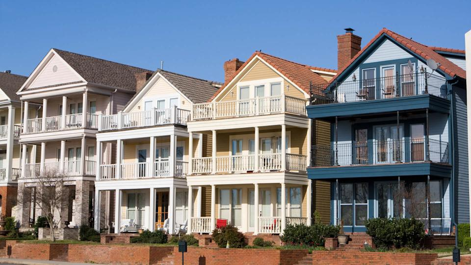 High end townhouses line the streets on Mud Island, Memphis, Tennessee.