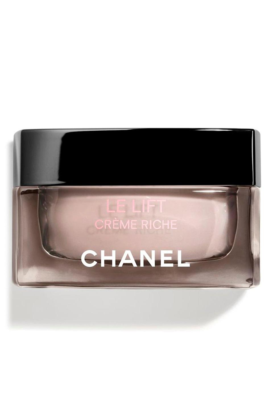 """<p><strong>CHANEL</strong></p><p>nordstrom.com</p><p><strong>$165.00</strong></p><p><a href=""""https://go.redirectingat.com?id=74968X1596630&url=https%3A%2F%2Fshop.nordstrom.com%2Fs%2Fchanel-le-lift-creme-riche%2F5368493&sref=https%3A%2F%2Fwww.marieclaire.com%2Fbeauty%2Fg34015100%2Fanti-aging-moisturizers%2F"""" rel=""""nofollow noopener"""" target=""""_blank"""" data-ylk=""""slk:SHOP IT"""" class=""""link rapid-noclick-resp"""">SHOP IT</a></p><p>Do you want to one day see your cheekbones and jawline again? This cream firms the face so you can look contoured and lifted again.</p>"""