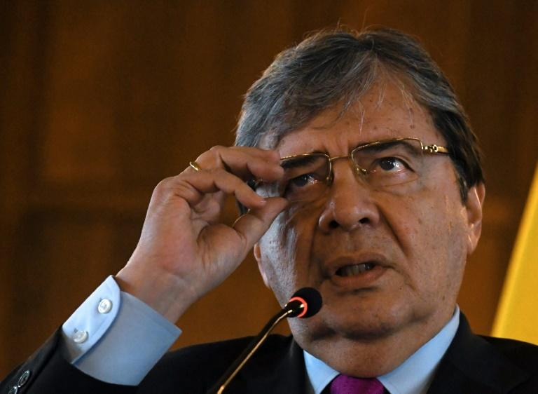"Colombia's Foreign Minister Carlos Holmes Trujillo, pictured in April 2019, said that authorities in his country ""will not give in to provocation"""