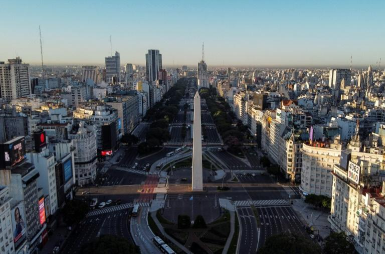 Aerial view of the empty 9 de Julio avenue in Buenos Aires, on March 20, 2020