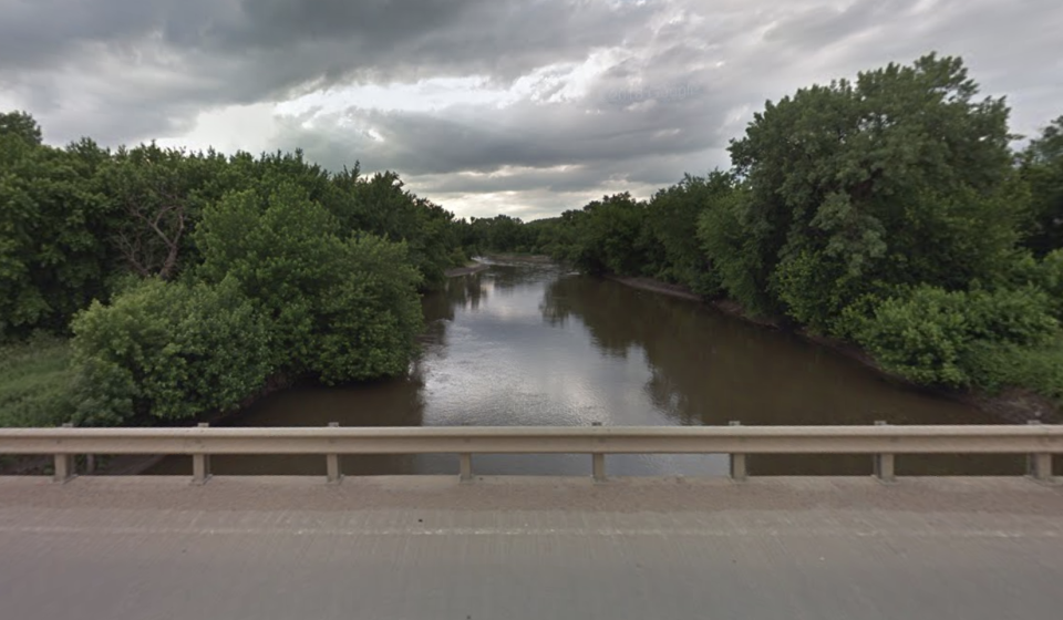 The Big Sioux River as seen from an overpass.