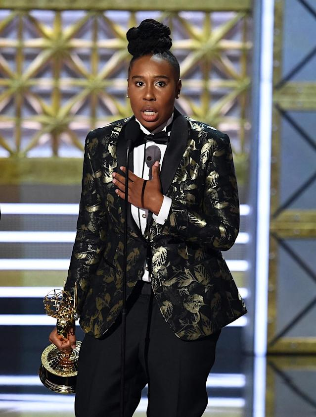 "Lena Waithe accepts the Outstanding Writing for a Comedy Series award for ""Master of None"" during the 69th Annual Primetime Emmy Awards at Microsoft Theater on Sept. 17, 2017, in Los Angeles. (Photo: Kevin Winter/Getty Images)"