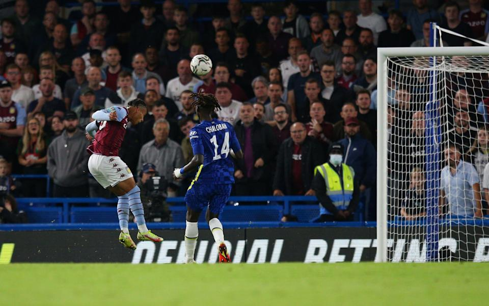 Cameron Archer of Aston Villa scores his side's equalising goal to make the score 1-1 during the Carabao Cup Third Round match between Chelsea and Aston Villa at Stamford Bridg - Craig Mercer/MB Media/Getty Images